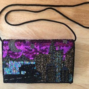 New York City Skyline Beaded and Sequined Handbag